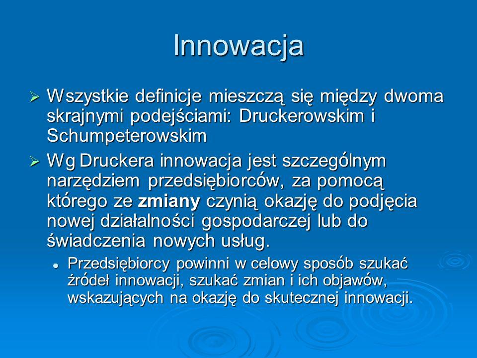 Innowacja Wszystkie definicje mieszczą się między dwoma skrajnymi podejściami: Druckerowskim i Schumpeterowskim Wszystkie definicje mieszczą się między dwoma skrajnymi podejściami: Druckerowskim i Schumpeterowskim Wg Druckera innowacja jest szczeg ó lnym narzędziem przedsiębiorc ó w, za pomocą kt ó rego ze zmiany czynią okazję do podjęcia nowej działalności gospodarczej lub do świadczenia nowych usług.