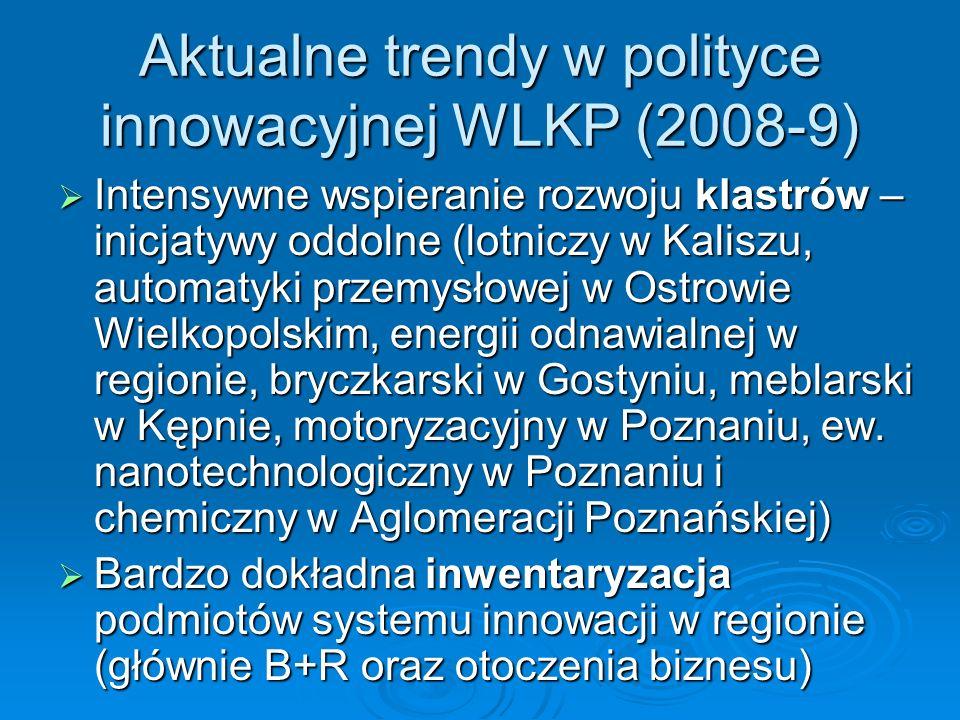 Aktualne trendy w polityce innowacyjnej WLKP (2008-9) Intensywne wspieranie rozwoju klastrów – inicjatywy oddolne (lotniczy w Kaliszu, automatyki przemysłowej w Ostrowie Wielkopolskim, energii odnawialnej w regionie, bryczkarski w Gostyniu, meblarski w Kępnie, motoryzacyjny w Poznaniu, ew.