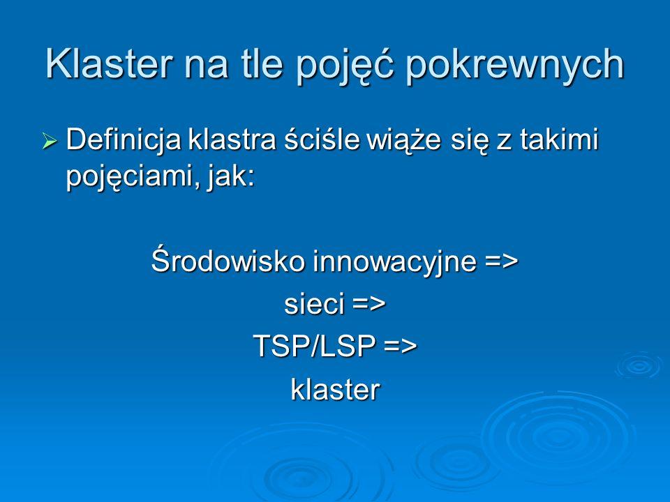 Klaster na tle pojęć pokrewnych Definicja klastra ściśle wiąże się z takimi pojęciami, jak: Definicja klastra ściśle wiąże się z takimi pojęciami, jak: Środowisko innowacyjne => sieci => TSP/LSP => klaster