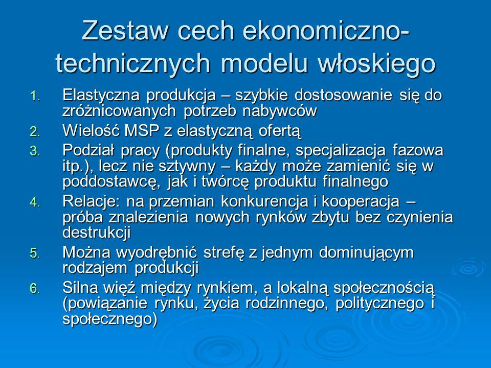 Zestaw cech ekonomiczno- technicznych modelu włoskiego 1. Elastyczna produkcja – szybkie dostosowanie się do zróżnicowanych potrzeb nabywców 2. Wieloś