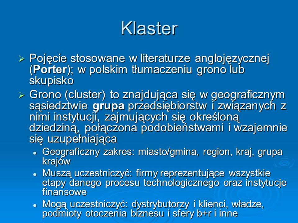 Klaster Pojęcie stosowane w literaturze anglojęzycznej (Porter); w polskim tłumaczeniu grono lub skupisko Pojęcie stosowane w literaturze anglojęzyczn