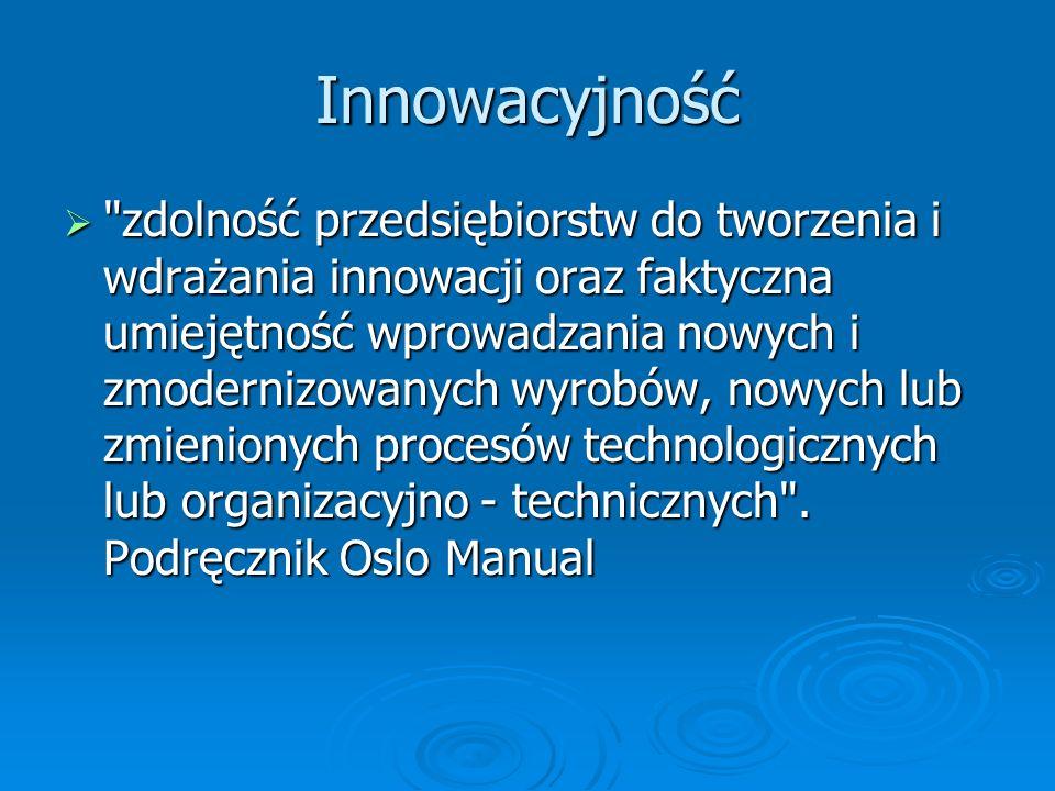 Innowacyjność zdolność przedsiębiorstw do tworzenia i wdrażania innowacji oraz faktyczna umiejętność wprowadzania nowych i zmodernizowanych wyrobów, nowych lub zmienionych procesów technologicznych lub organizacyjno - technicznych .