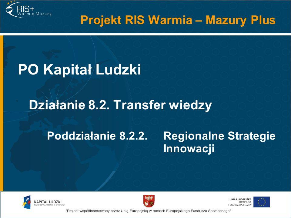 PO Kapitał Ludzki Działanie 8.2. Transfer wiedzy Poddziałanie 8.2.2. Regionalne Strategie Innowacji