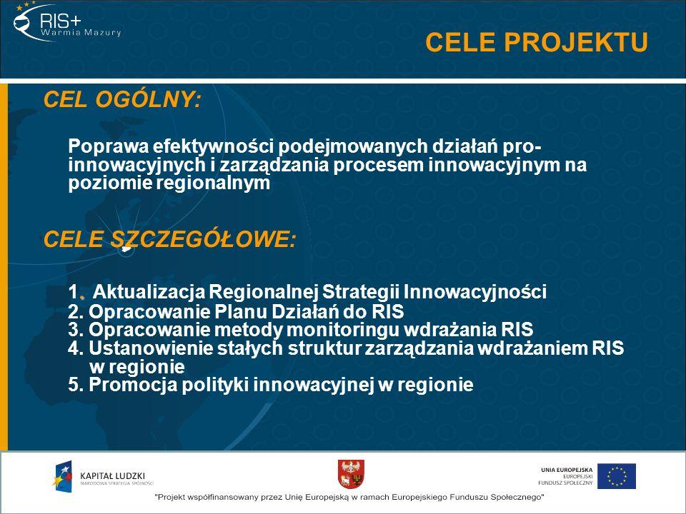 CELE PROJEKTU CEL OGÓLNY: Poprawa efektywności podejmowanych działań pro- innowacyjnych i zarządzania procesem innowacyjnym na poziomie regionalnym. C