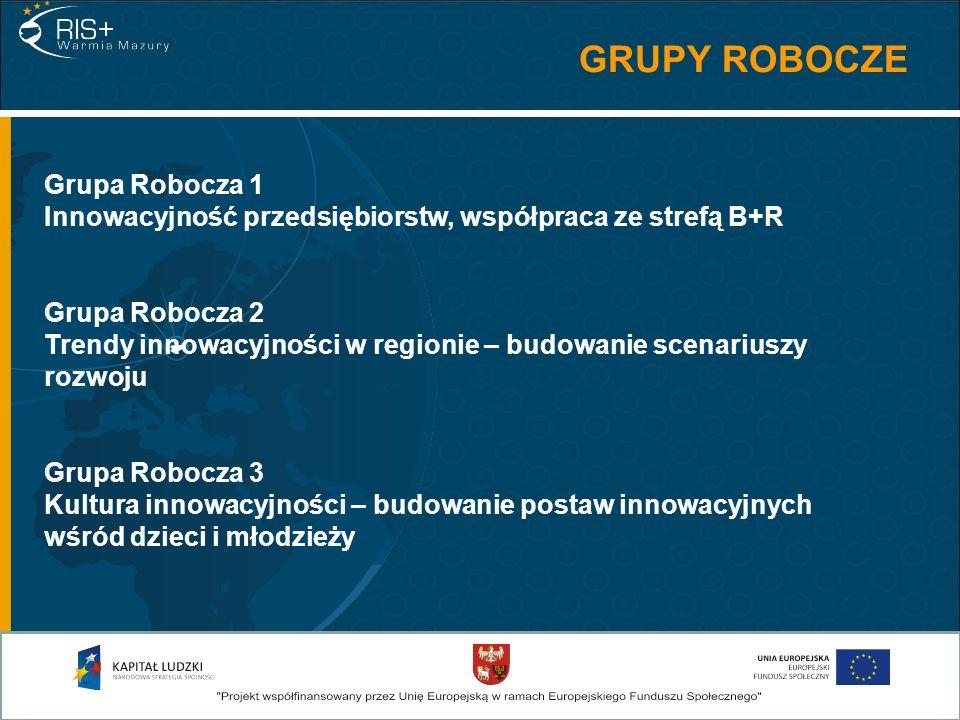 GRUPY ROBOCZE Grupa Robocza 1 Innowacyjność przedsiębiorstw, współpraca ze strefą B+R Grupa Robocza 2 Trendy innowacyjności w regionie – budowanie sce