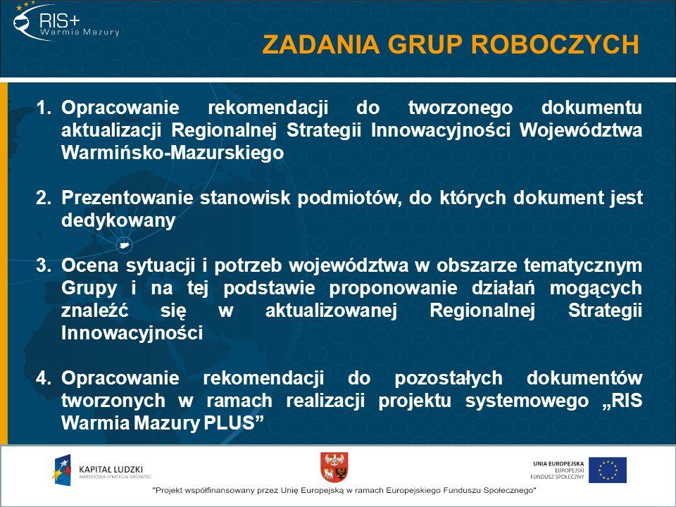 1.Opracowanie rekomendacji do tworzonego dokumentu aktualizacji Regionalnej Strategii Innowacyjności Województwa Warmińsko-Mazurskiego 2.Prezentowanie