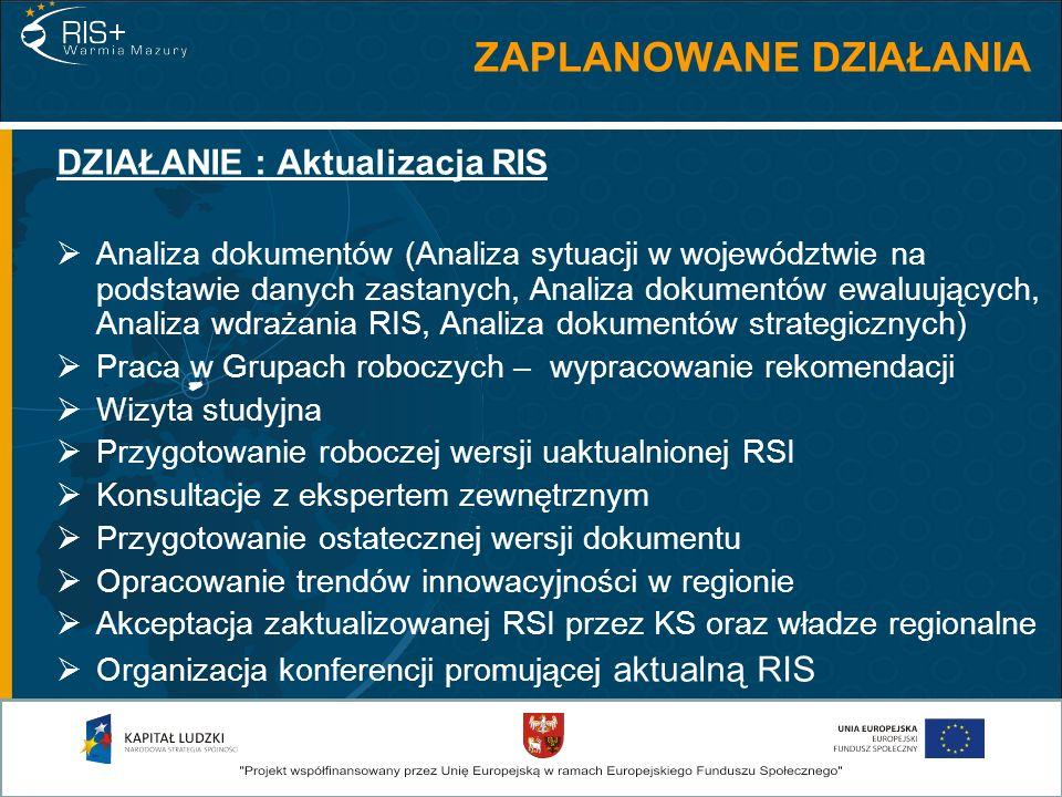 DZIAŁANIE : Aktualizacja RIS Analiza dokumentów (Analiza sytuacji w województwie na podstawie danych zastanych, Analiza dokumentów ewaluujących, Anali
