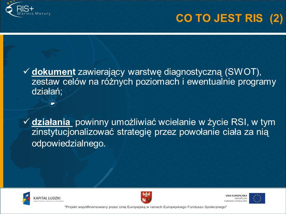 CO TO JEST RIS (2) dokument zawierający warstwę diagnostyczną (SWOT), zestaw celów na różnych poziomach i ewentualnie programy działań; działania powinny umożliwiać wcielanie w życie RSI, w tym zinstytucjonalizować strategię przez powołanie ciała za nią odpowiedzialnego.