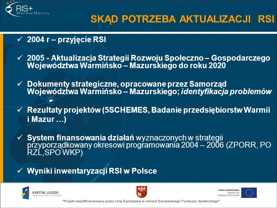 2004 r – przyjęcie RSI 2005 - Aktualizacja Strategii Rozwoju Społeczno – Gospodarczego Województwa Warmińsko – Mazurskiego do roku 2020 Dokumenty strategiczne, opracowane przez Samorząd Województwa Warmińsko – Mazurskiego; identyfikacja problemów Rezultaty projektów (5SCHEMES, Badanie przedsiębiorstw Warmii i Mazur …) System finansowania działań wyznaczonych w strategii przyporządkowany okresowi programowania 2004 – 2006 (ZPORR, PO RZL,SPO WKP) Wyniki inwentaryzacji RSI w Polsce SKĄD POTRZEBA AKTUALIZACJI RSI
