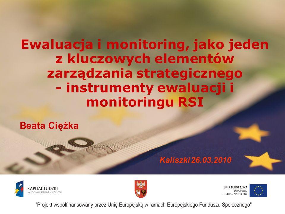 1 Ewaluacja i monitoring, jako jeden z kluczowych elementów zarządzania strategicznego - instrumenty ewaluacji i monitoringu RSI Beata Ciężka Kaliszki