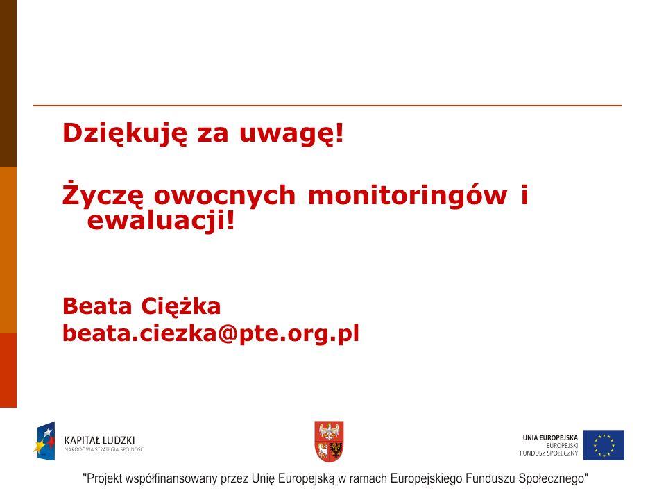 17 Dziękuję za uwagę! Życzę owocnych monitoringów i ewaluacji! Beata Ciężka beata.ciezka@pte.org.pl