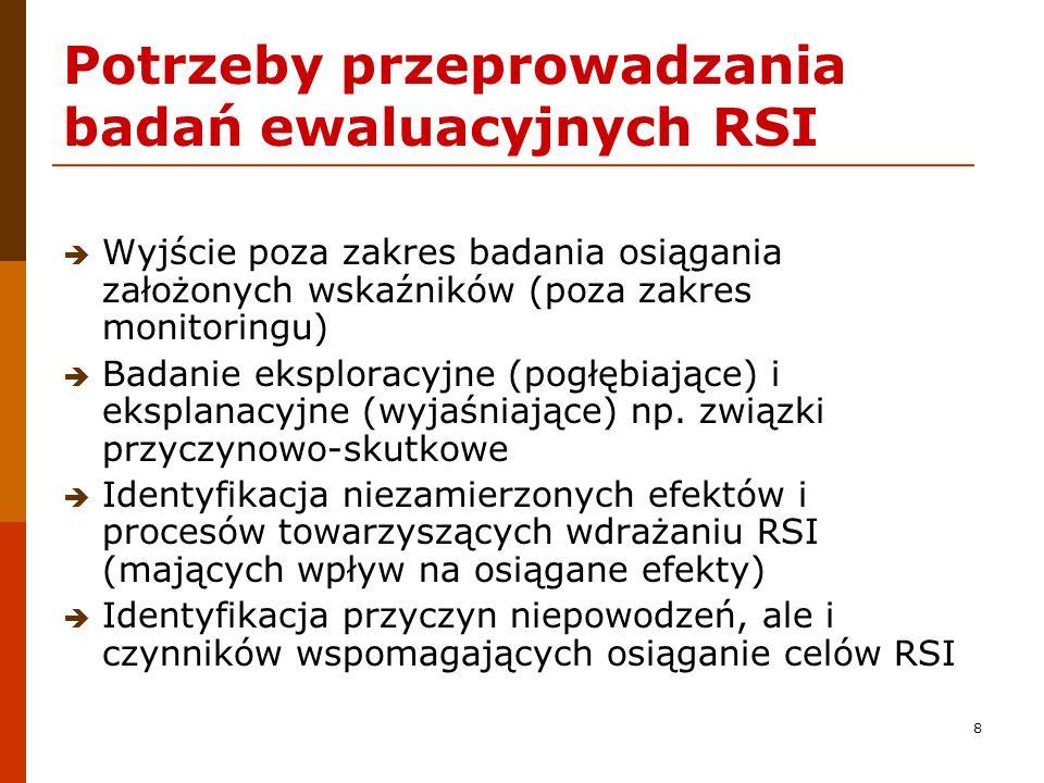 8 Potrzeby przeprowadzania badań ewaluacyjnych RSI Wyjście poza zakres badania osiągania założonych wskaźników (poza zakres monitoringu) Badanie ekspl