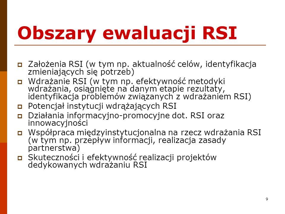 9 Obszary ewaluacji RSI Założenia RSI (w tym np. aktualność celów, identyfikacja zmieniających się potrzeb) Wdrażanie RSI (w tym np. efektywność metod