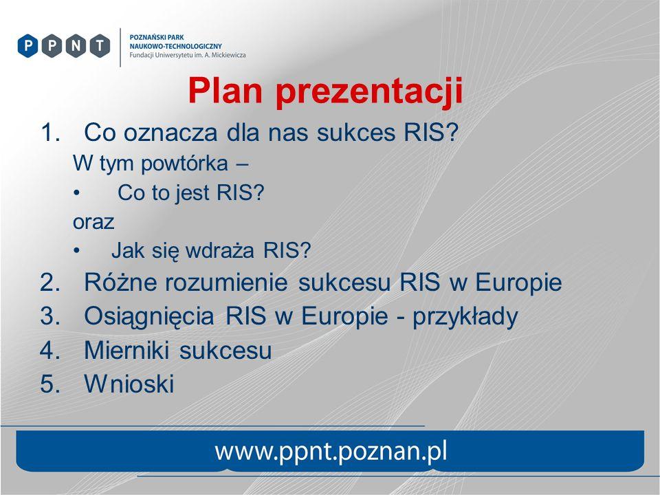 Dolna Austria – czynniki sukcesu Konsekwentna konsytuacja RIS od 1997, ci sami ludzie Wsparcie polityczne – ministerstwo i Komitet Sterujący RIS Ciągłe sieciowanie i dialog Konkretne środki na implementacje – własne i fundusze strukturalne Jasny podział zadań i odpowiedzialności pomiędzy aktorami Nakierowanie na klienta – MŚP Eksperymentowanie, wyciąganie wniosków