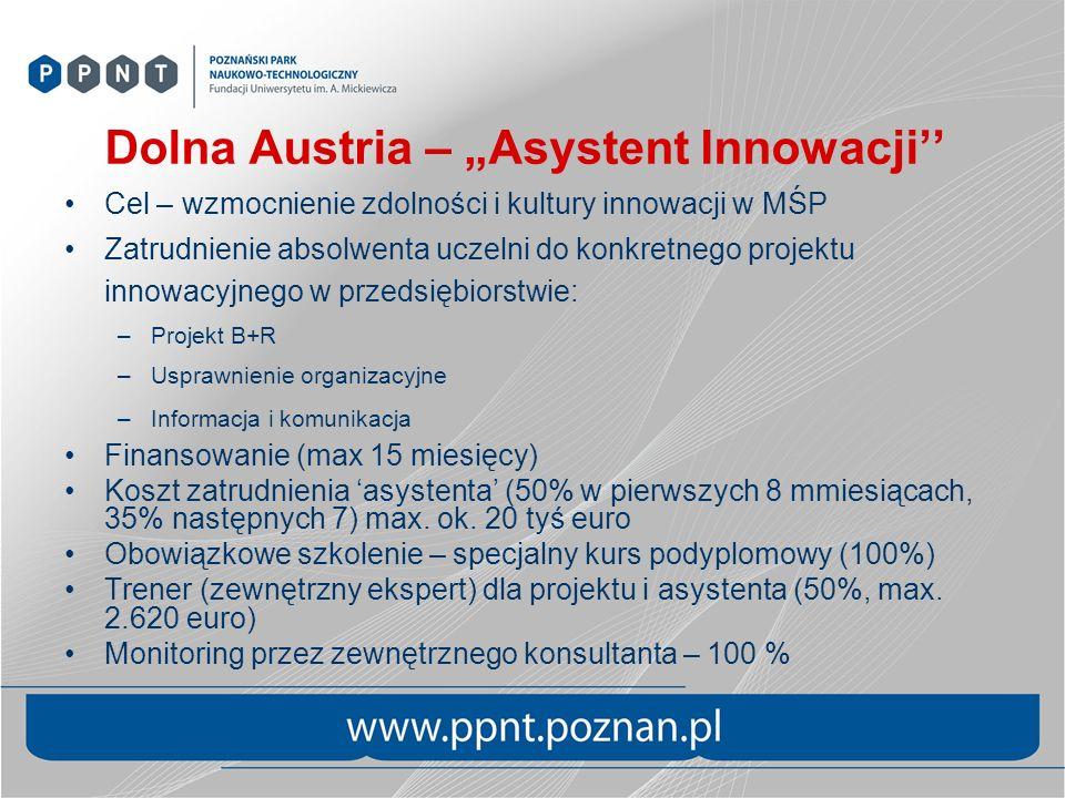 Dolna Austria – Asystent Innowacji Cel – wzmocnienie zdolności i kultury innowacji w MŚP Zatrudnienie absolwenta uczelni do konkretnego projektu innow