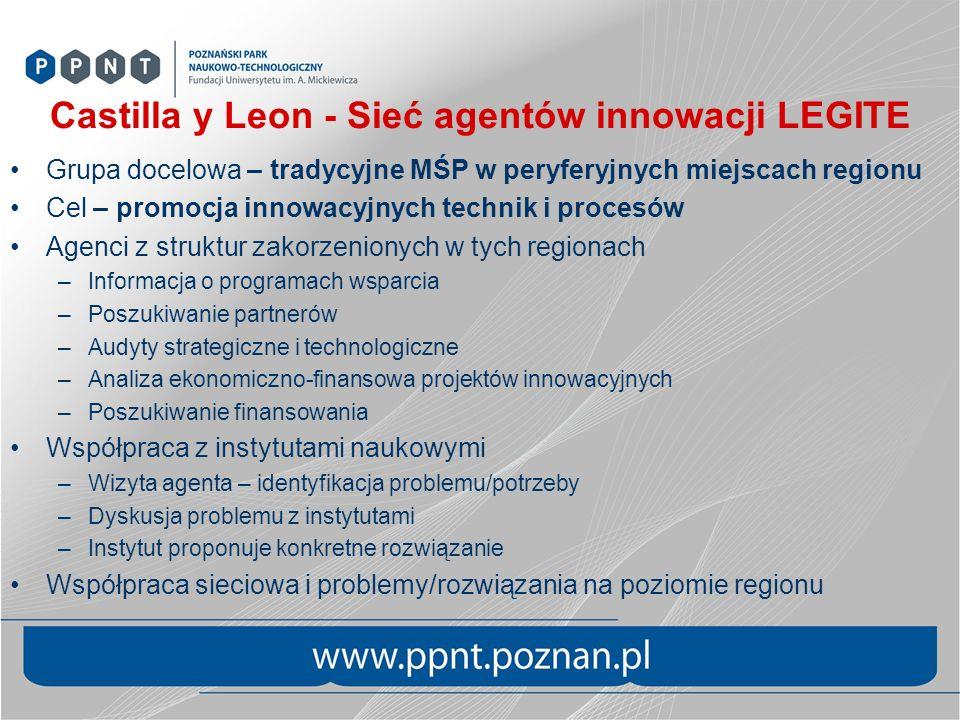Castilla y Leon - Sieć agentów innowacji LEGITE Grupa docelowa – tradycyjne MŚP w peryferyjnych miejscach regionu Cel – promocja innowacyjnych technik