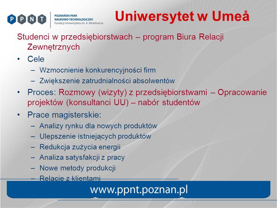 Uniwersytet w Umeå Studenci w przedsiębiorstwach – program Biura Relacji Zewnętrznych Cele –Wzmocnienie konkurencyjności firm –Zwiększenie zatrudnialn