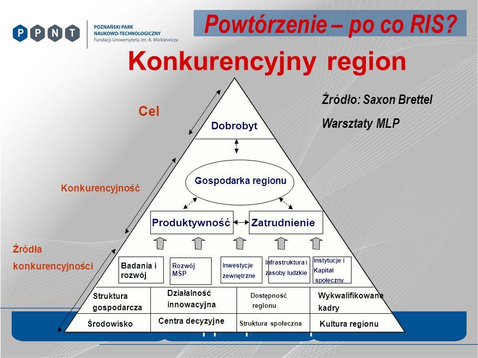 Konkurencyjny region Dobrobyt Środowisko Centra decyzyjne Struktura społeczna Kultura regionu Struktura gospodarcza Działalność innowacyjna Dostępność