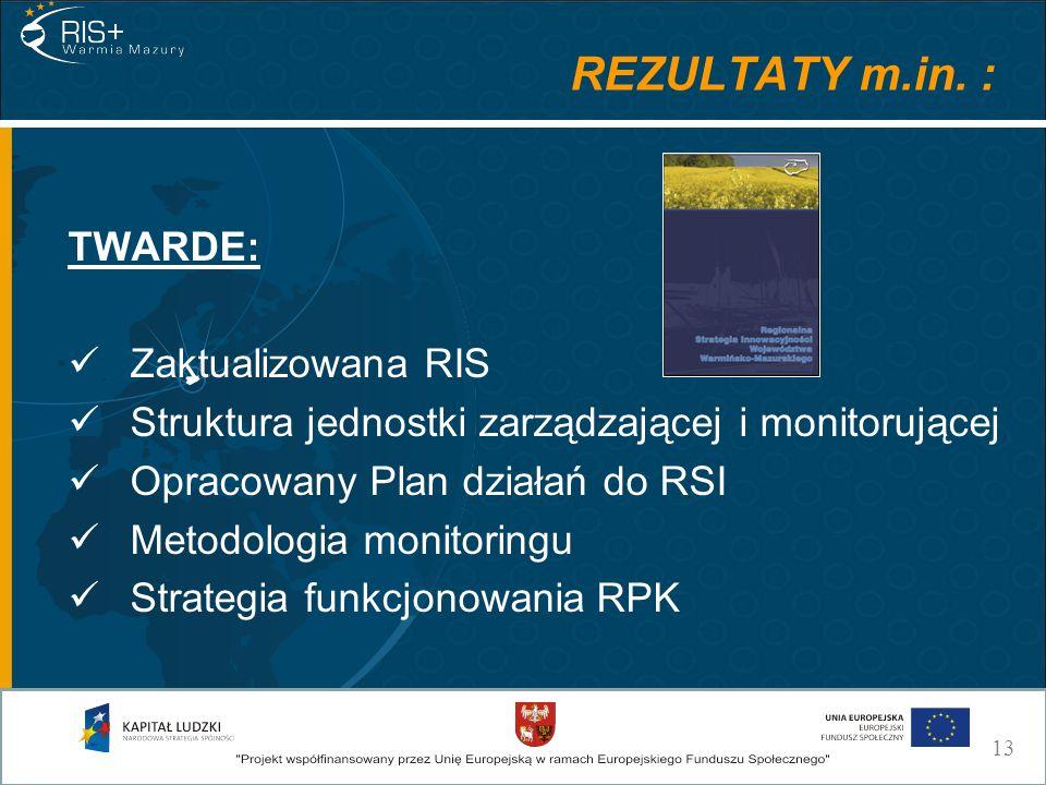 REZULTATY m.in. : TWARDE: Zaktualizowana RIS Struktura jednostki zarządzającej i monitorującej Opracowany Plan działań do RSI Metodologia monitoringu