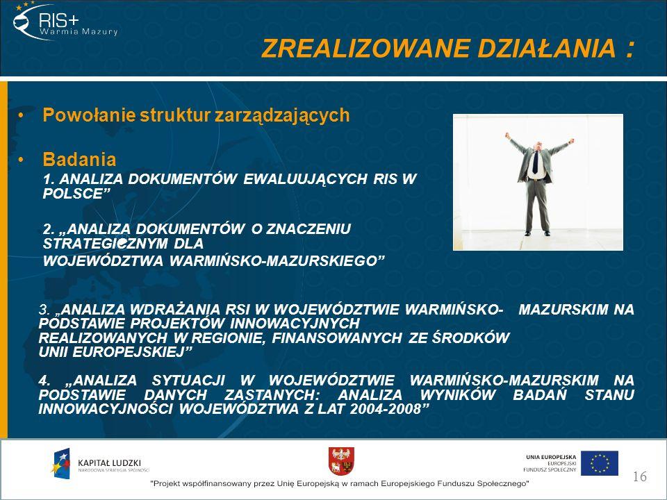 ZREALIZOWANE DZIAŁANIA : Powołanie struktur zarządzających Badania 1. ANALIZA DOKUMENTÓW EWALUUJĄCYCH RIS W POLSCE 2. ANALIZA DOKUMENTÓW O ZNACZENIU S