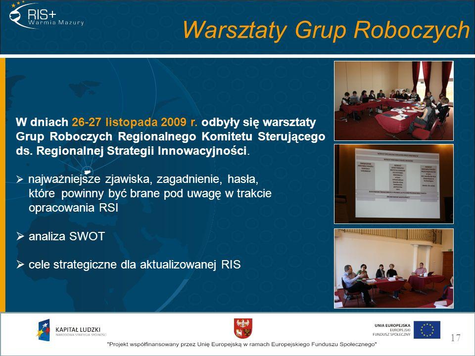 Warsztaty Grup Roboczych W dniach 26-27 listopada 2009 r. odbyły się warsztaty Grup Roboczych Regionalnego Komitetu Sterującego ds. Regionalnej Strate