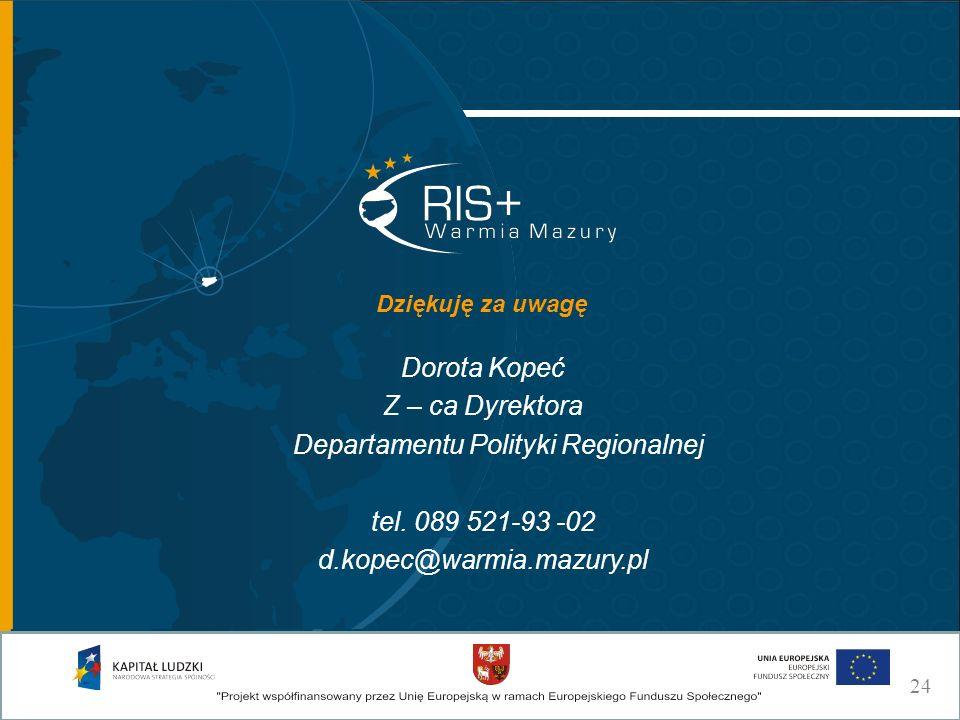 Dorota Kopeć Z – ca Dyrektora Departamentu Polityki Regionalnej tel. 089 521-93 -02 d.kopec@warmia.mazury.pl Dziękuję za uwagę 24