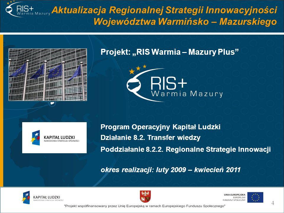 Aktualizacja Regionalnej Strategii Innowacyjności Województwa Warmińsko – Mazurskiego Projekt: RIS Warmia – Mazury Plus okres realizacji: luty 2009 –