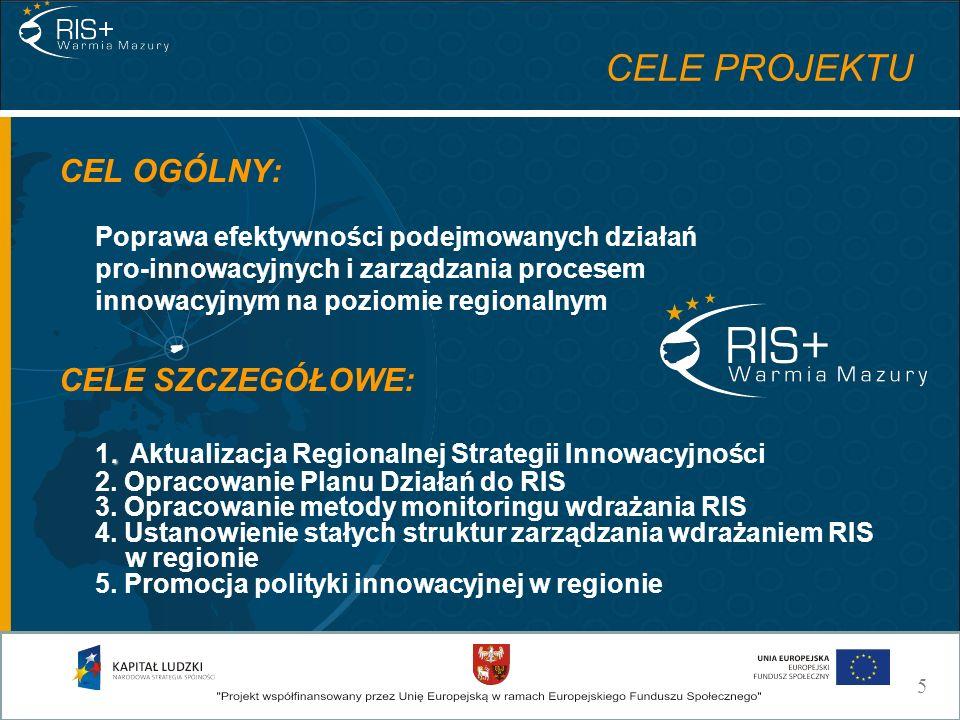 CELE PROJEKTU CEL OGÓLNY: Poprawa efektywności podejmowanych działań pro-innowacyjnych i zarządzania procesem innowacyjnym na poziomie regionalnym. CE