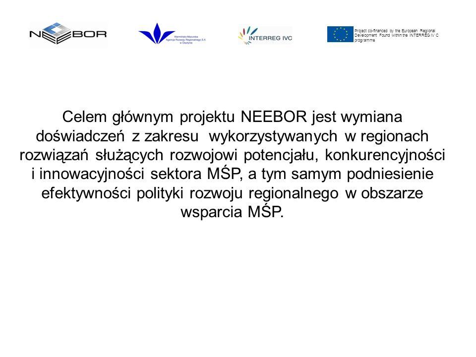 Project co-financed by the European Regional Development Found within the INTERREG IV C programme Celem głównym projektu NEEBOR jest wymiana doświadczeń z zakresu wykorzystywanych w regionach rozwiązań służących rozwojowi potencjału, konkurencyjności i innowacyjności sektora MŚP, a tym samym podniesienie efektywności polityki rozwoju regionalnego w obszarze wsparcia MŚP.