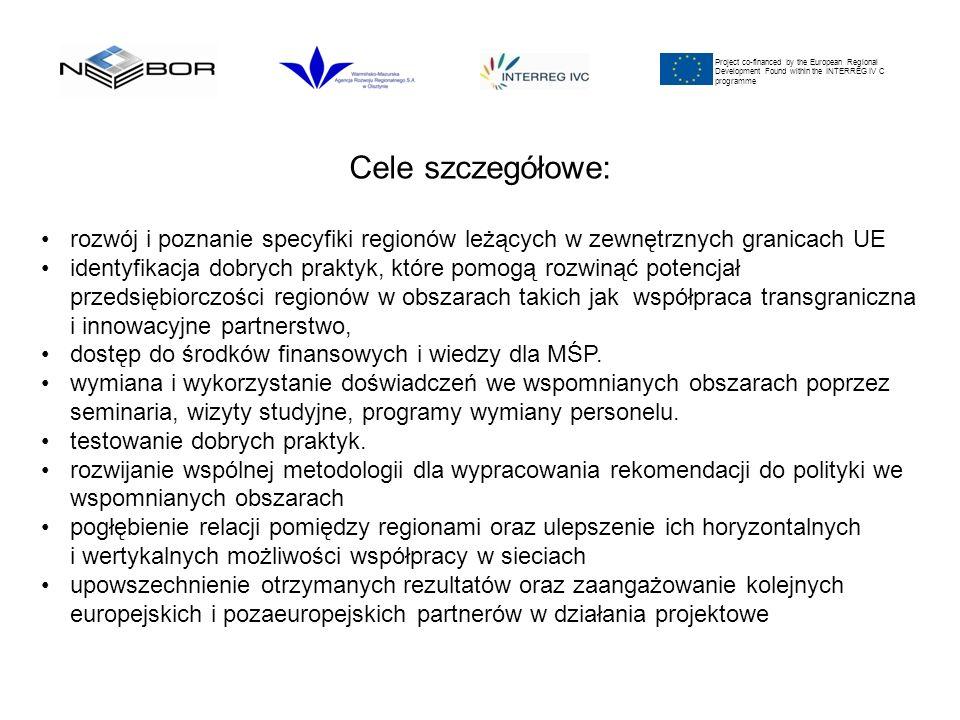Project co-financed by the European Regional Development Found within the INTERREG IV C programme Cele szczegółowe: rozwój i poznanie specyfiki regionów leżących w zewnętrznych granicach UE identyfikacja dobrych praktyk, które pomogą rozwinąć potencjał przedsiębiorczości regionów w obszarach takich jak współpraca transgraniczna i innowacyjne partnerstwo, dostęp do środków finansowych i wiedzy dla MŚP.