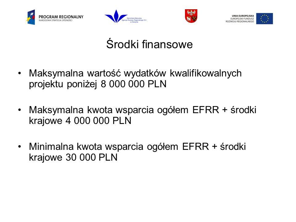 Środki finansowe Maksymalna wartość wydatków kwalifikowalnych projektu poniżej 8 000 000 PLN Maksymalna kwota wsparcia ogółem EFRR + środki krajowe 4 000 000 PLN Minimalna kwota wsparcia ogółem EFRR + środki krajowe 30 000 PLN