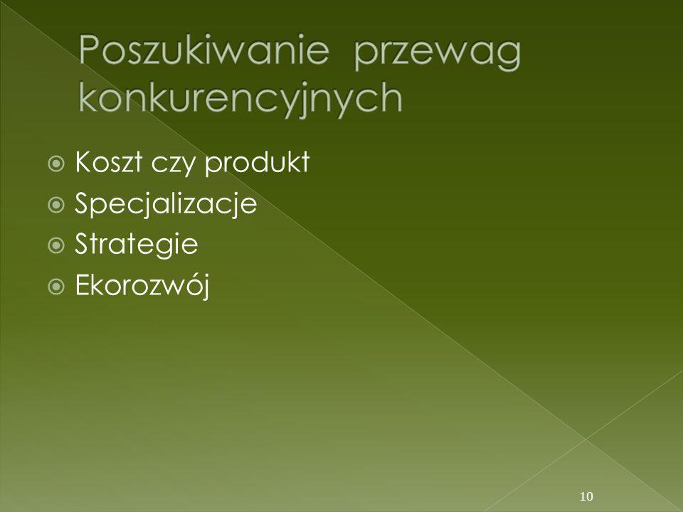 Koszt czy produkt Specjalizacje Strategie Ekorozwój 10