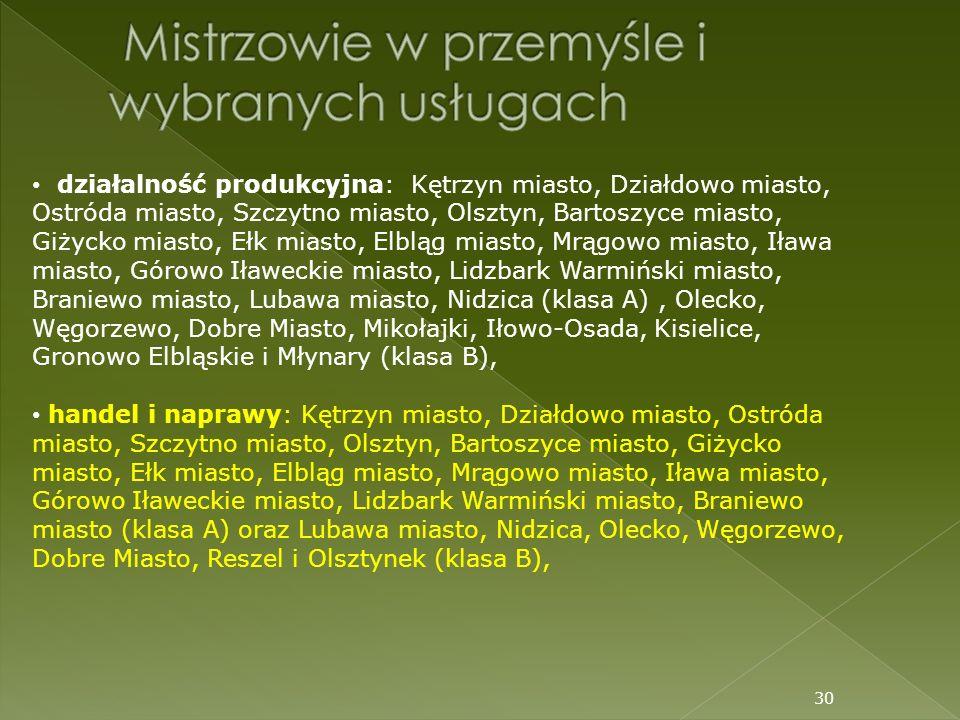 30 działalność produkcyjna: Kętrzyn miasto, Działdowo miasto, Ostróda miasto, Szczytno miasto, Olsztyn, Bartoszyce miasto, Giżycko miasto, Ełk miasto,