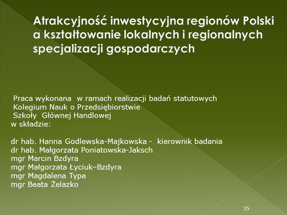 35 Praca wykonana w ramach realizacji badań statutowych Kolegium Nauk o Przedsiębiorstwie Szkoły Głównej Handlowej w składzie: dr hab. Hanna Godlewska