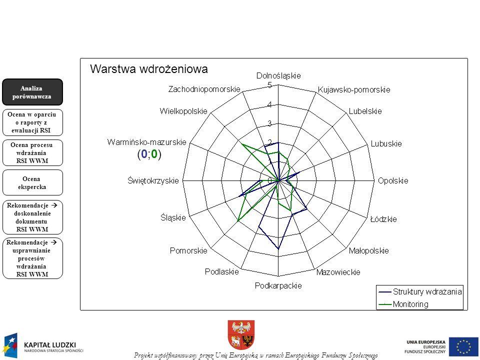 Projekt współfinansowany przez Unię Europejską w ramach Europejskiego Funduszu Społecznego Analiza porównawcza Ocena w oparciu o raporty z ewaluacji RSI Ocena procesu wdrażania RSI WWM Ocena ekspercka Rekomendacje doskonalenie dokumentu RSI WWM Rekomendacje usprawnianie procesów wdrażania RSI WWM (0;0)(0;0) Warstwa wdrożeniowa