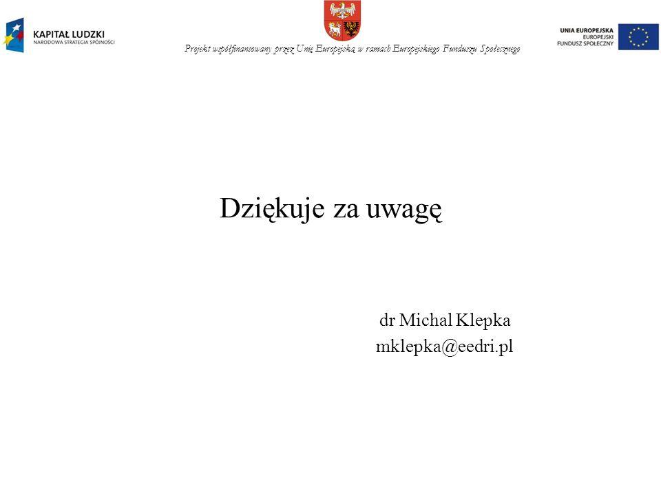 Projekt współfinansowany przez Unię Europejską w ramach Europejskiego Funduszu Społecznego Dziękuje za uwagę dr Michal Klepka mklepka@eedri.pl