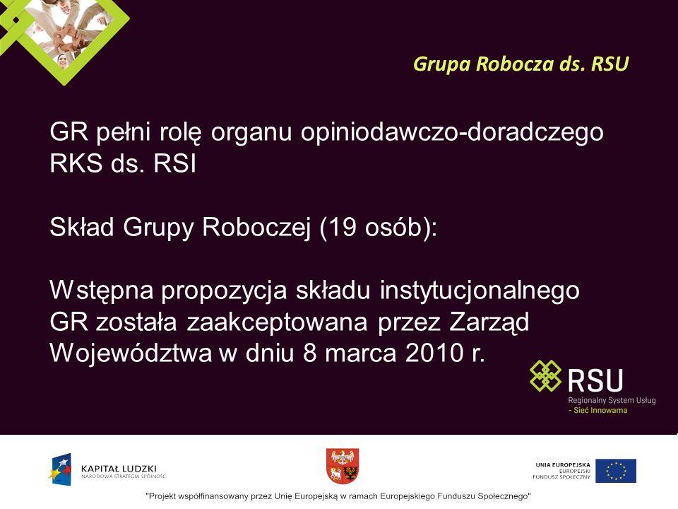 Opracowanie propozycji kryteriów uczestnictwa w Sieci Prezentowanie stanowisk podmiotów, wchodzących w skład RSU Opiniowanie i rekomendacje wyników prac powstałych w trakcie realizacji projektu Inicjowanie aktywnego udziału partnerów społecznych w budowaniu Sieci w województwie warmińsko – mazurskim Przyjmowanie raportów z wdrażania, monitoringu i ewaluacji RSU oraz udzielanie rekomendacji Regionalnemu Komitetowi Sterującemu ds.