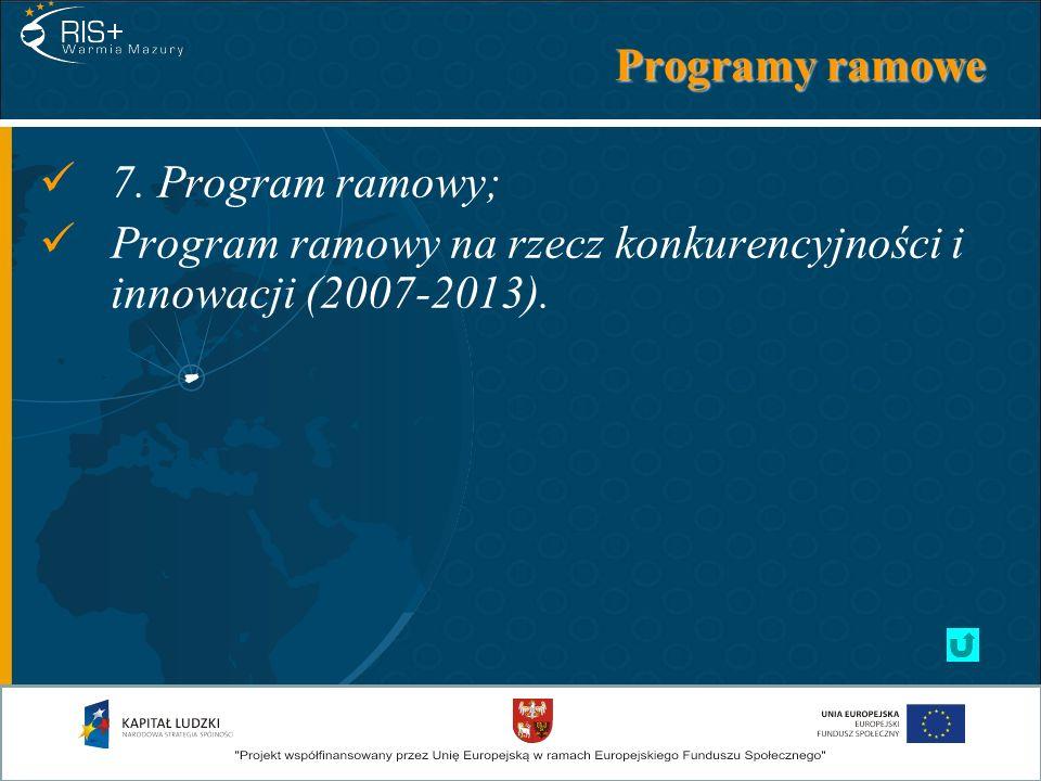 Programy ramowe 7. Program ramowy; Program ramowy na rzecz konkurencyjności i innowacji (2007-2013).