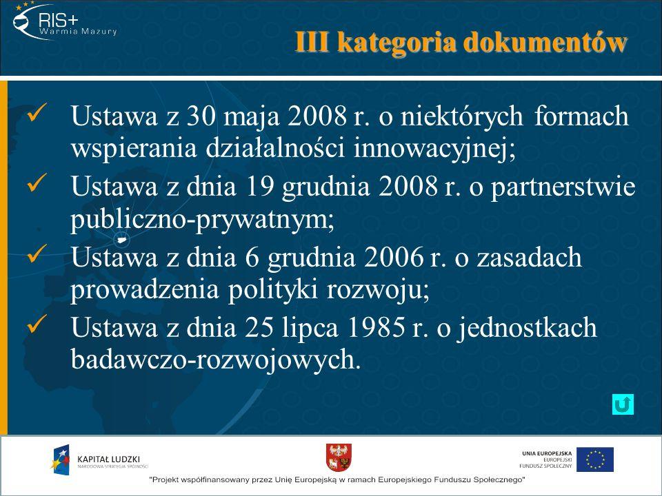 III kategoria dokumentów Ustawa z 30 maja 2008 r. o niektórych formach wspierania działalności innowacyjnej; Ustawa z dnia 19 grudnia 2008 r. o partne