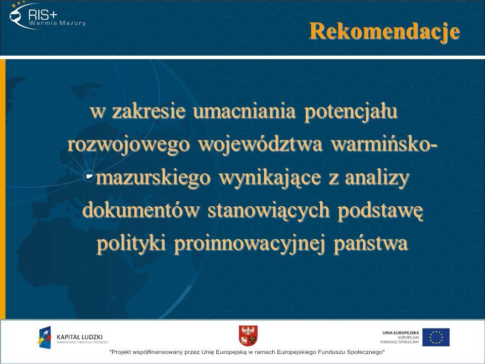 Rekomendacje w zakresie umacniania potencjału rozwojowego województwa warmińsko- mazurskiego wynikające z analizy dokumentów stanowiących podstawę pol