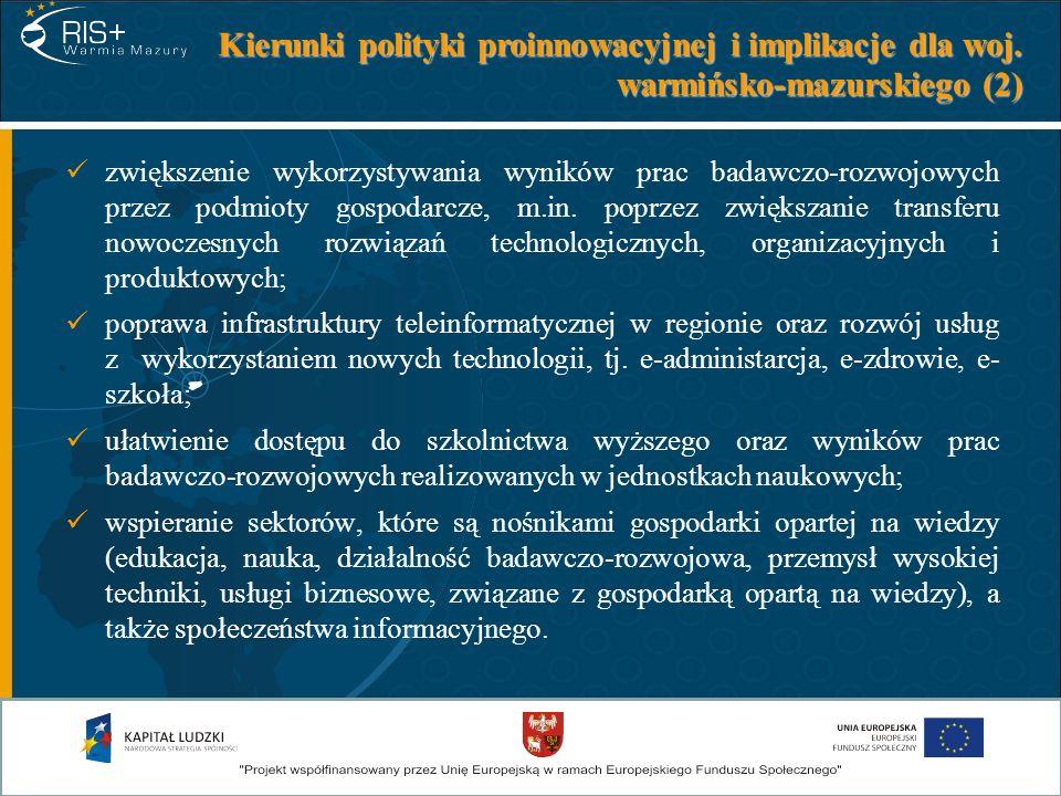 Kierunki polityki proinnowacyjnej i implikacje dla woj. warmińsko-mazurskiego (2) zwiększenie wykorzystywania wyników prac badawczo-rozwojowych przez