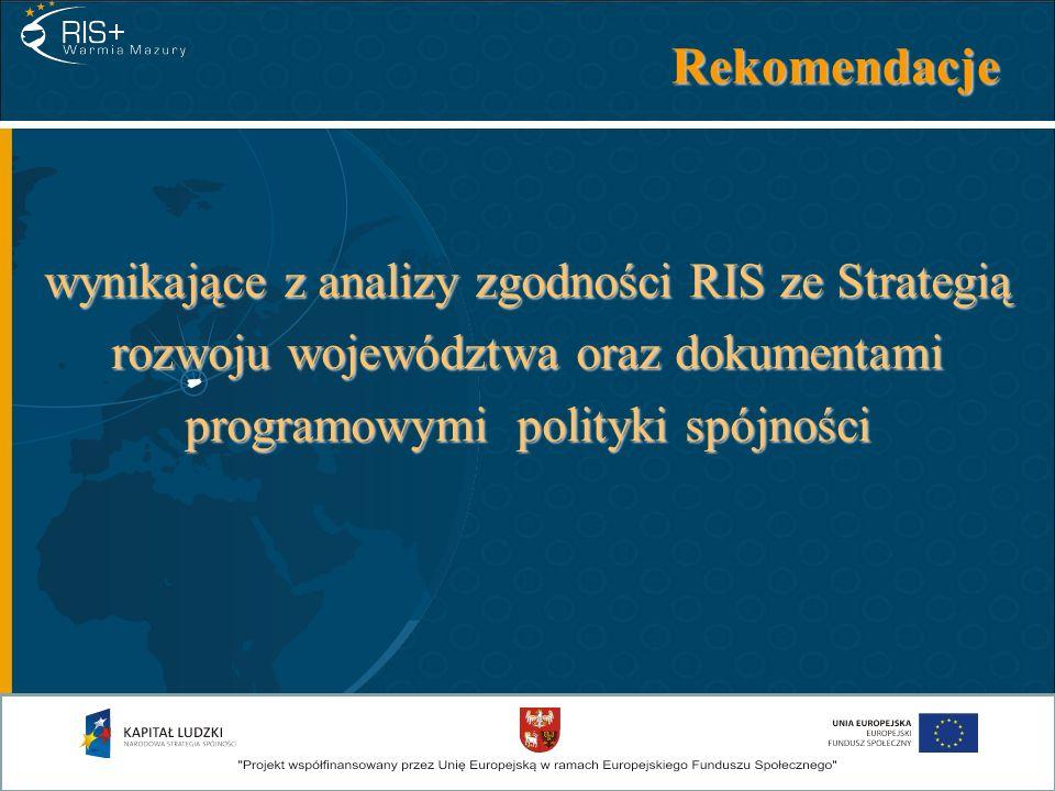 Rekomendacje wynikające z analizy zgodności RIS ze Strategią rozwoju województwa oraz dokumentami programowymi polityki spójności