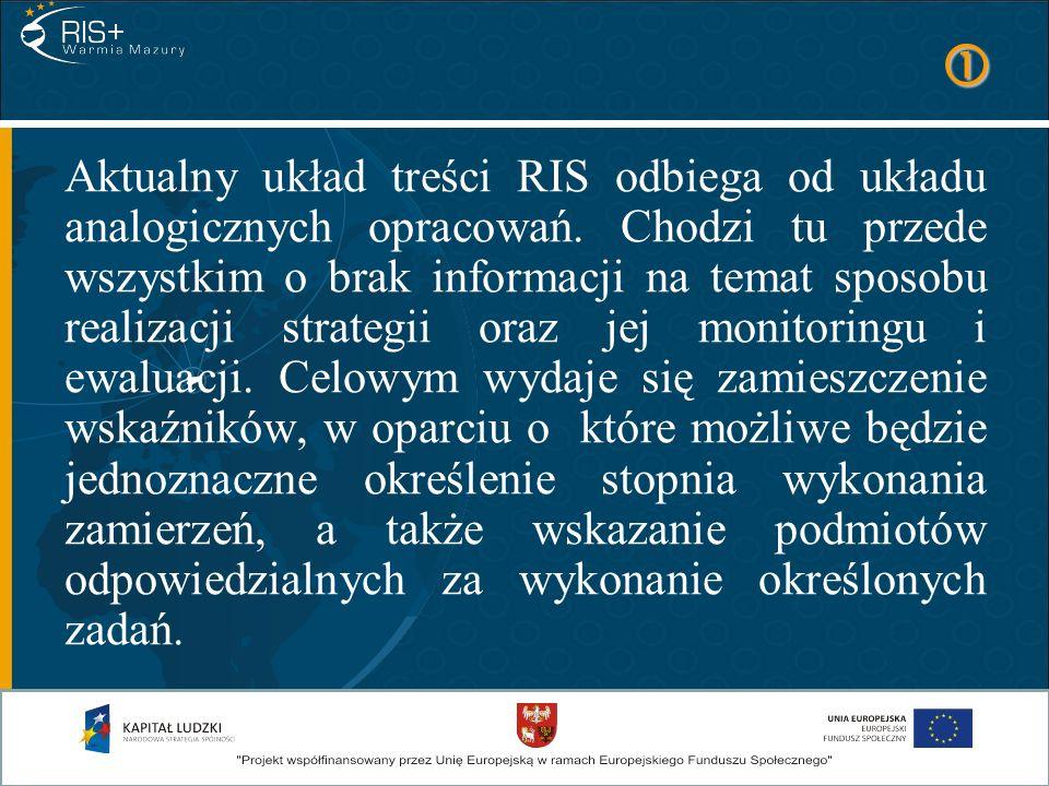 Aktualny układ treści RIS odbiega od układu analogicznych opracowań. Chodzi tu przede wszystkim o brak informacji na temat sposobu realizacji strategi