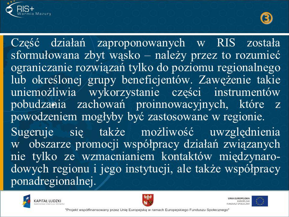Część działań zaproponowanych w RIS została sformułowana zbyt wąsko – należy przez to rozumieć ograniczanie rozwiązań tylko do poziomu regionalnego lu