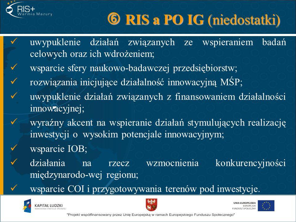 RIS a PO IG (niedostatki) RIS a PO IG (niedostatki) uwypuklenie działań związanych ze wspieraniem badań celowych oraz ich wdrożeniem; wsparcie sfery n