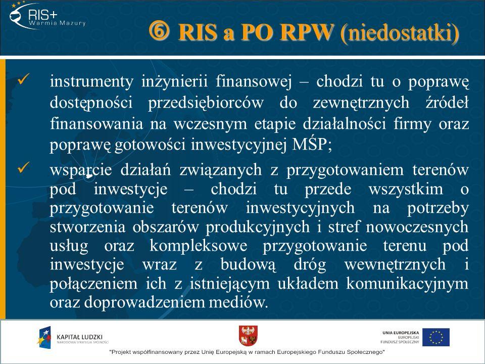RIS a PO RPW (niedostatki) RIS a PO RPW (niedostatki) instrumenty inżynierii finansowej – chodzi tu o poprawę dostępności przedsiębiorców do zewnętrzn