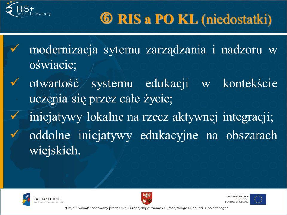 RIS a PO KL (niedostatki) RIS a PO KL (niedostatki) modernizacja sytemu zarządzania i nadzoru w oświacie; otwartość systemu edukacji w kontekście ucze