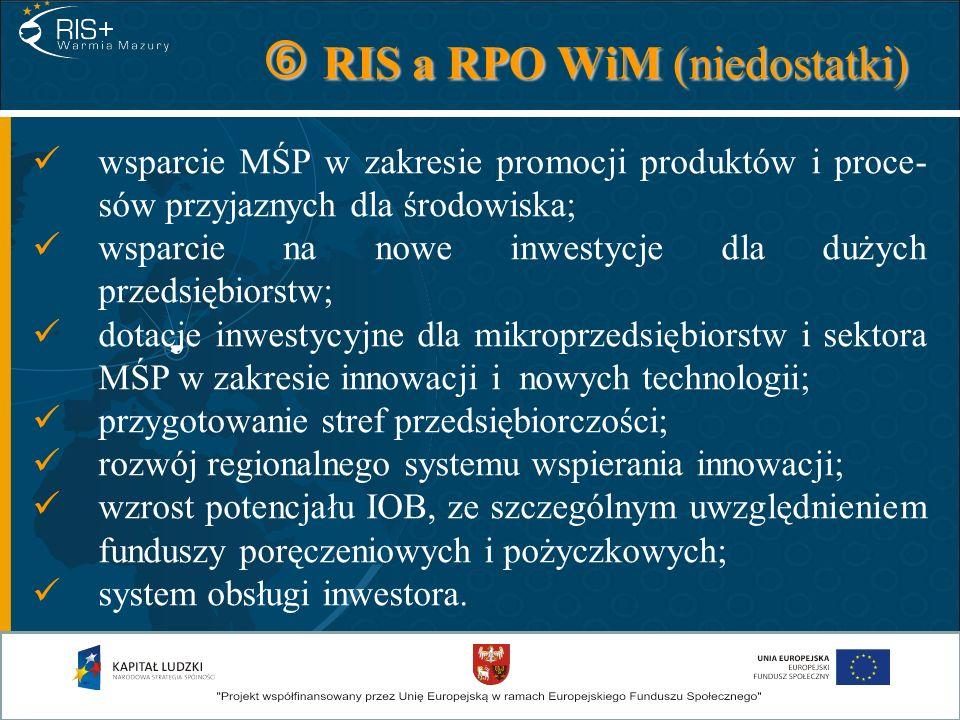 RIS a RPO WiM (niedostatki) RIS a RPO WiM (niedostatki) wsparcie MŚP w zakresie promocji produktów i proce- sów przyjaznych dla środowiska; wsparcie n