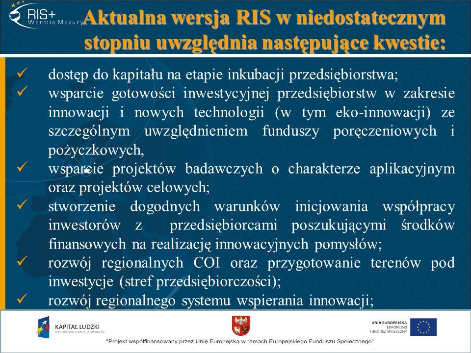 Aktualna wersja RIS w niedostatecznym stopniu uwzględnia następujące kwestie: dostęp do kapitału na etapie inkubacji przedsiębiorstwa; wsparcie gotowo
