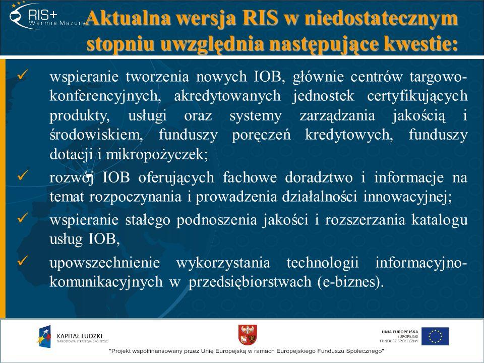 Aktualna wersja RIS w niedostatecznym stopniu uwzględnia następujące kwestie: wspieranie tworzenia nowych IOB, głównie centrów targowo- konferencyjnyc